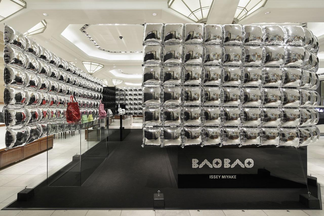 Mirrored balloons frame Issey Miyake's Bao Bao pop-up store